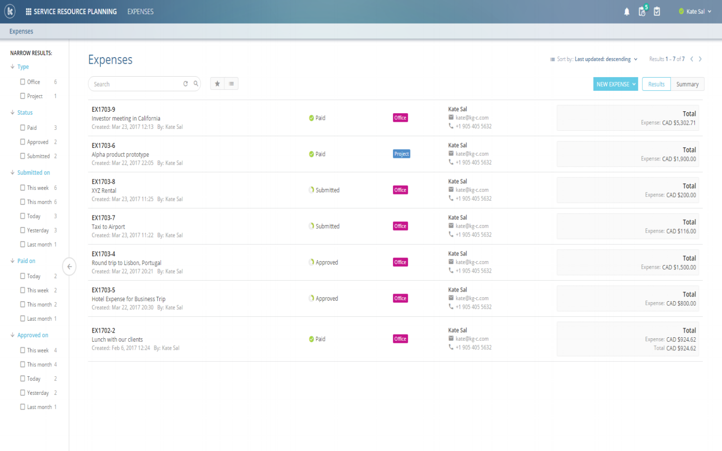Kloudville allows users to track and manage expenses