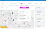 FieldEZ screenshot: Map-based scheduler: Real-time view of users customers and tickets on the map