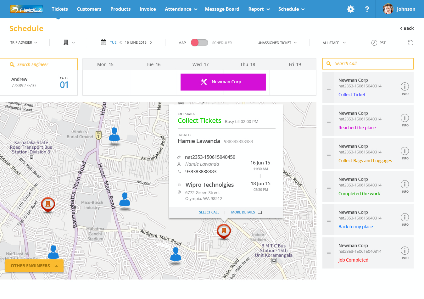 Map-based scheduler: Real-time view of users customers and tickets on the map