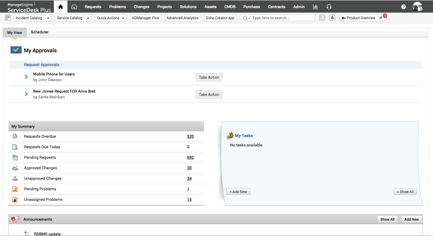 Check tasks and manage approvals