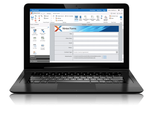 Nintex Forms feeds form-based information input directly back into a digital, paperless workflow