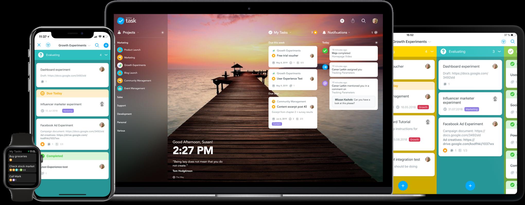 MeisterTask screenshot: MeisterTask desktop and mobile
