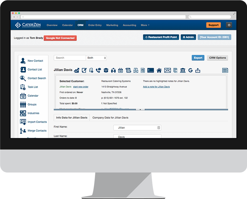 CaterZen screenshot: A customer and prospect database (CRM) that anchors all sales, operations and marketing