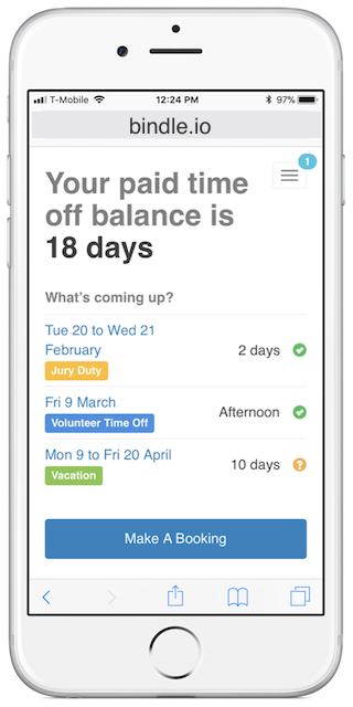 Bindle is also optimized for use on mobile devices, allowing employees and managers to access it from anywhere