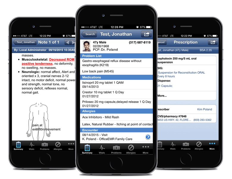 Users can access patient charts from their iPhone, patient charts, and e-prescriptions