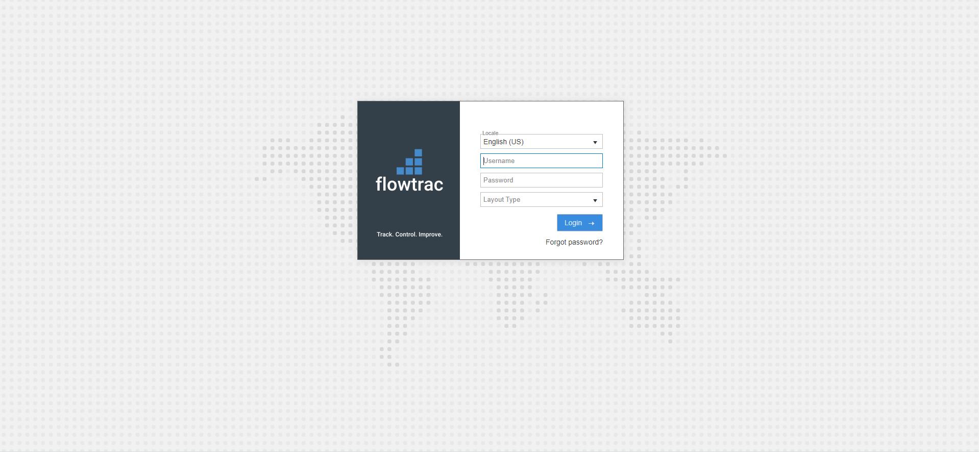 Flowtrac Software - Login Screen
