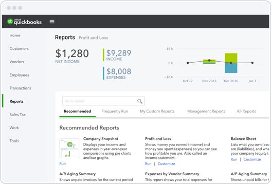 Create customized reports or chose from recommended reports