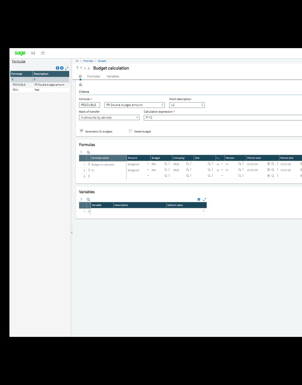 Sage X3 budget tracking