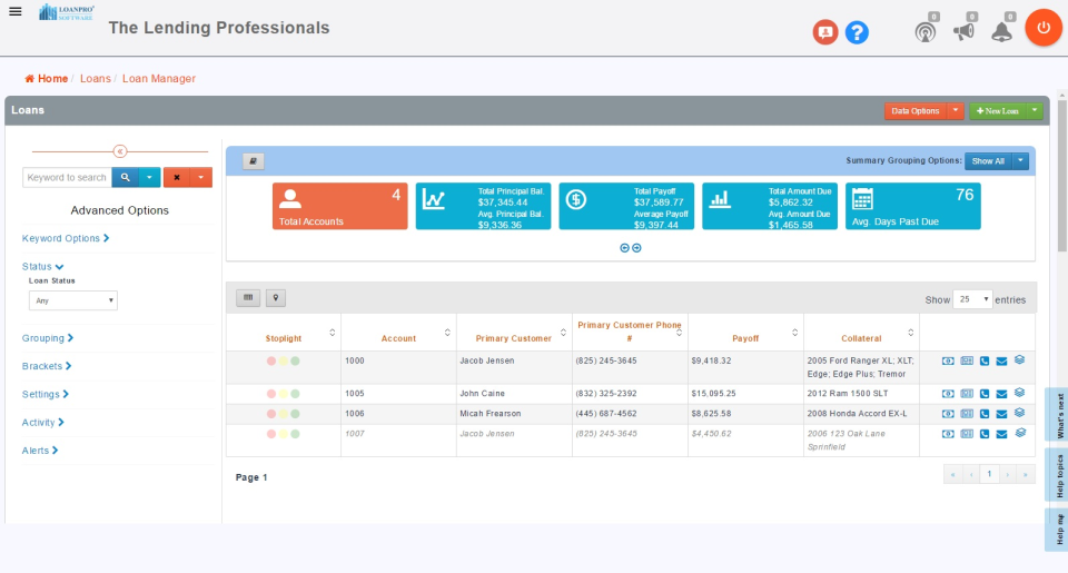 View all loans at-a-glance via the dashboard