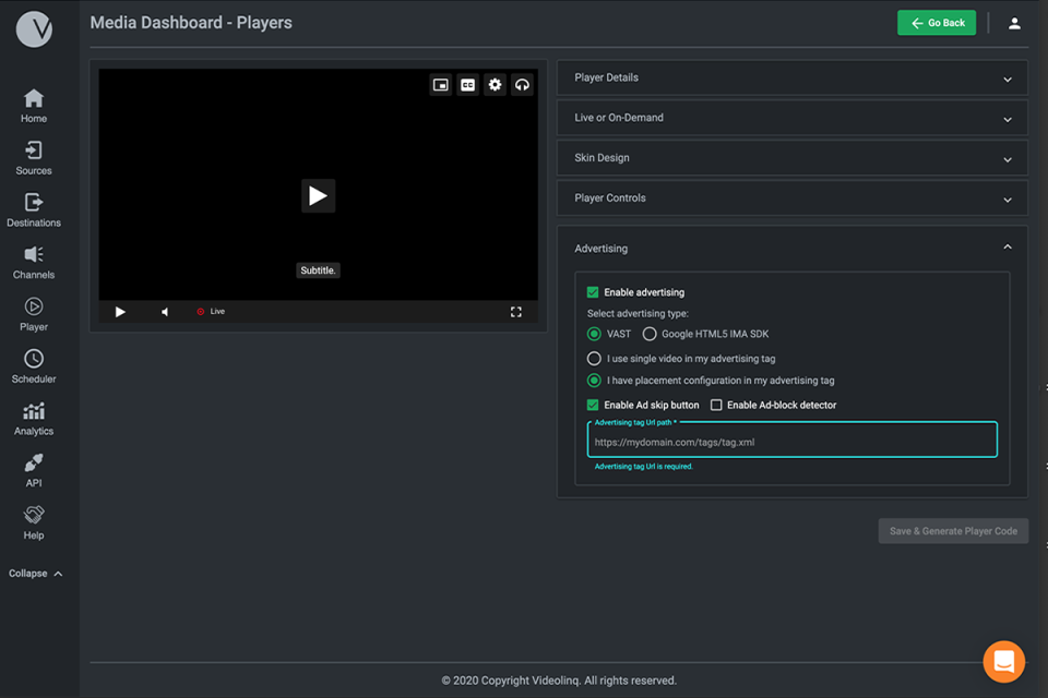Create a cross-platform video player for live or archived videos.
