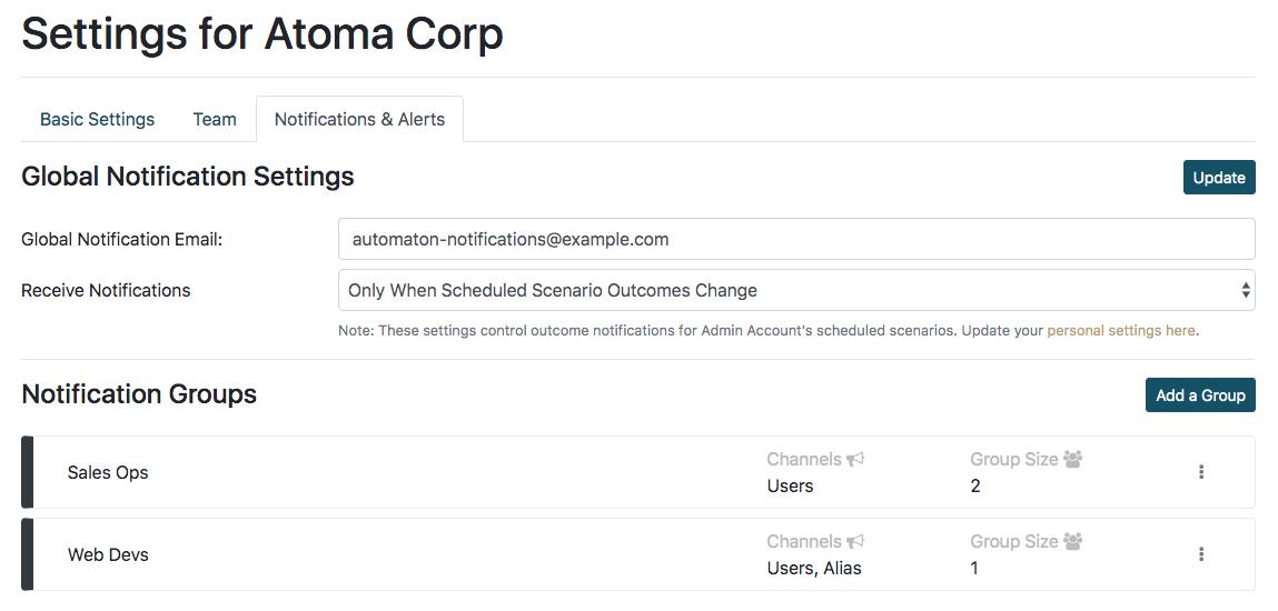 Atomatest configure notifications & alerts