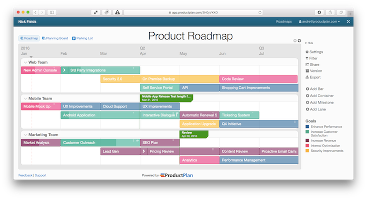 ProductPlan screenshot: Drag & drop bars onto a roadmap and edit them easily