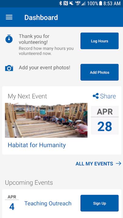 Blackbaud Employee Volunteering dashboard