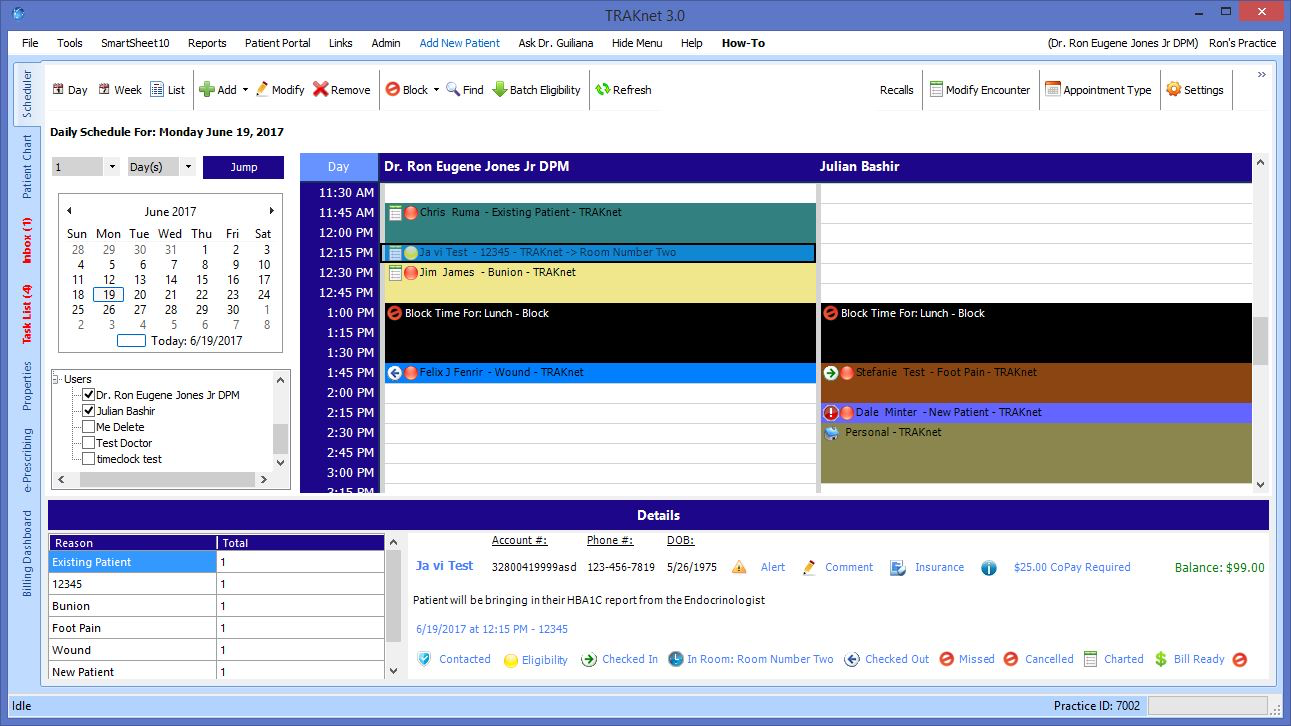 TRAKnet screenshot: A color-coded daily scheduling screen shows appointments booked into the timeline, with associated details displayed below