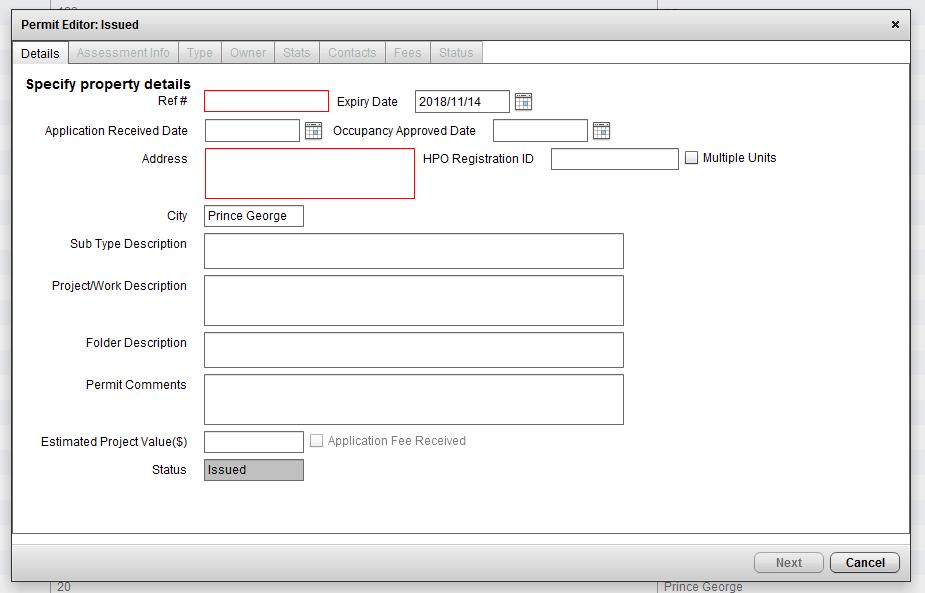 CityReporter permit creation screenshot