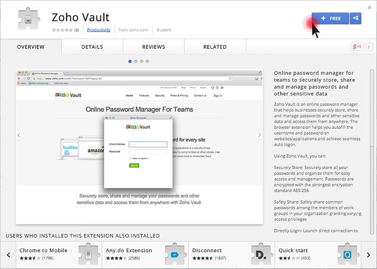 Zoho Vault extension