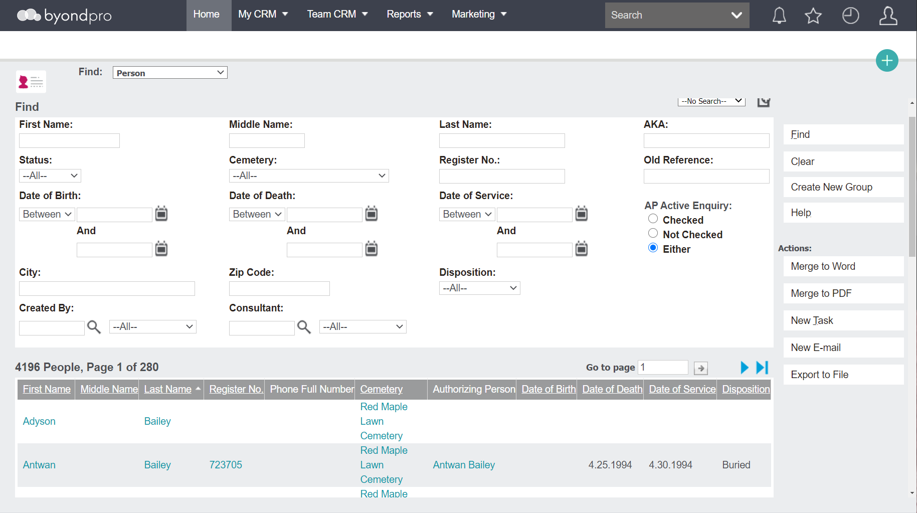 byondpro screenshot: byondpro records management for cemeteries screen