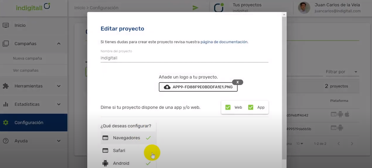 Indigitall project edit