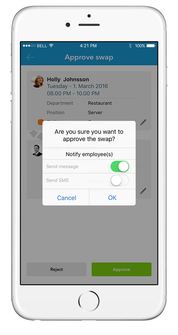 App: Approve shift swaps directly from the app
