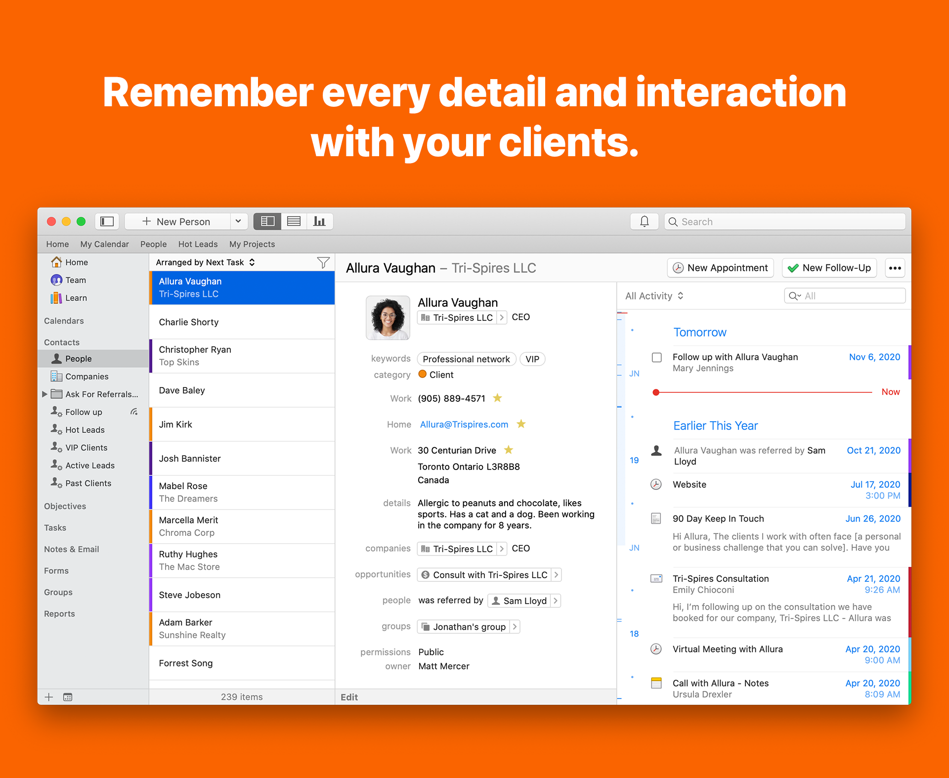 Daylite for Mac screenshot: Remember every detail and interaction with your clients