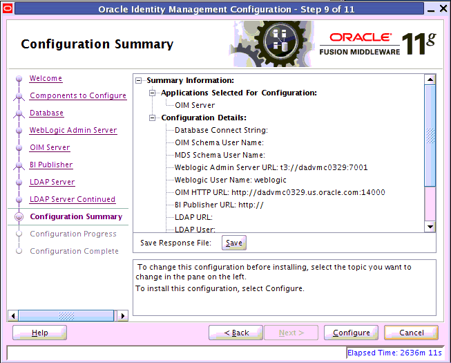 Oracle Identity Management configuration summary view
