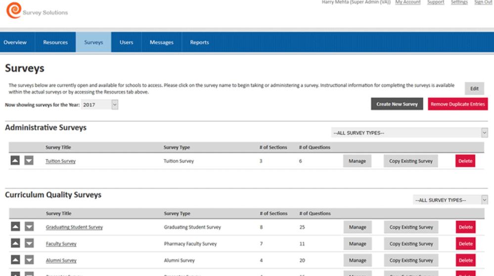 Bungee Enterprise Survey Management System screenshot: Bungee Survey Management System surveys