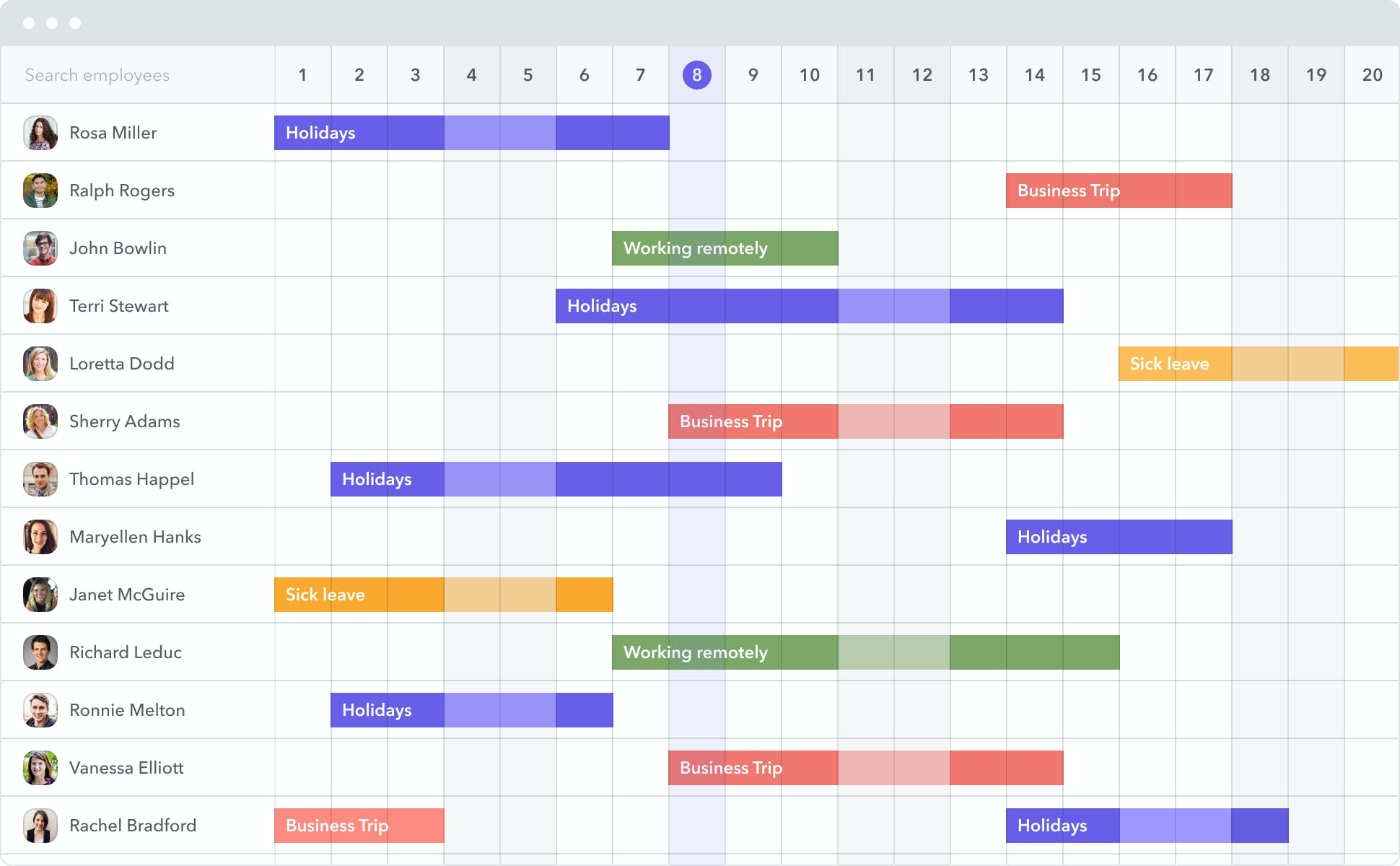 With Factorial, employees can easily send digital time off requests which managers can approve on their own time. With a team view calendar, it's always to see who has time off coming up and who will be in the office.