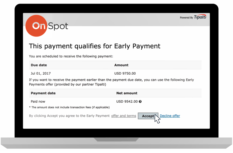 Once a supplier views an early payment offer through email or the supplier portal, they can easily accept and see the net payment amount