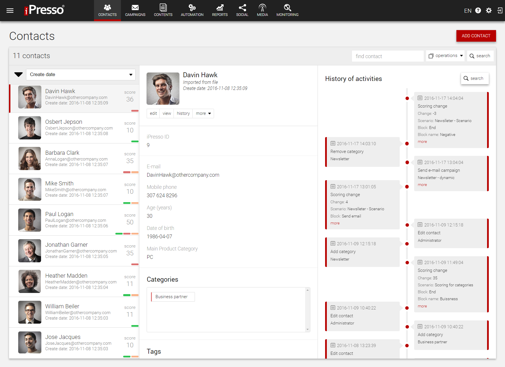 The contact manager includes a full contact activity history