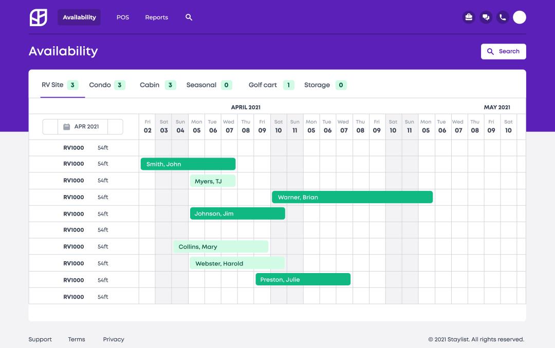 Staylist Pro view availability
