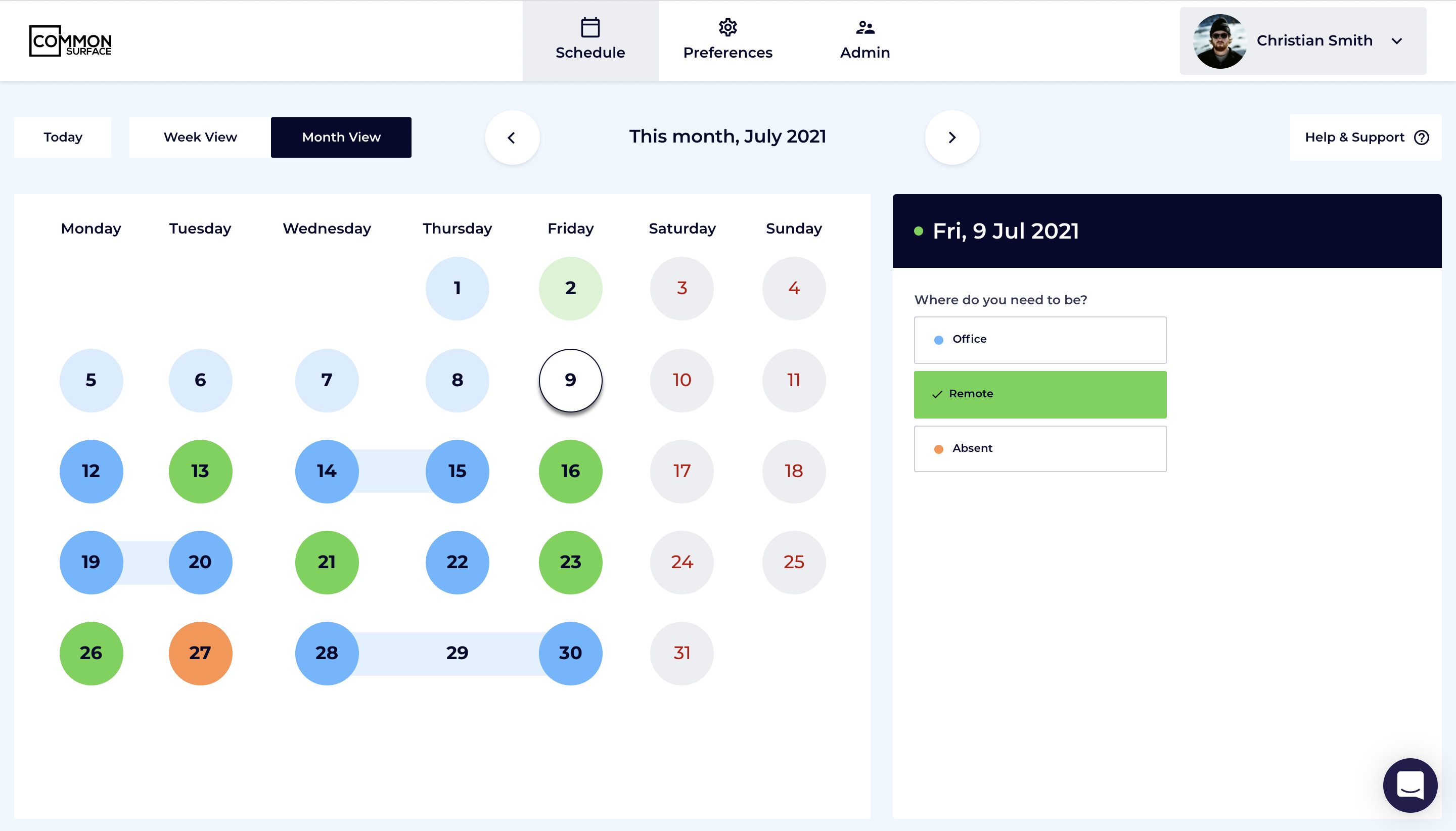Common Surface also provides a monthly view of the schedule, where users can book days in advance, and absences and holidays are synced across from HR systems.