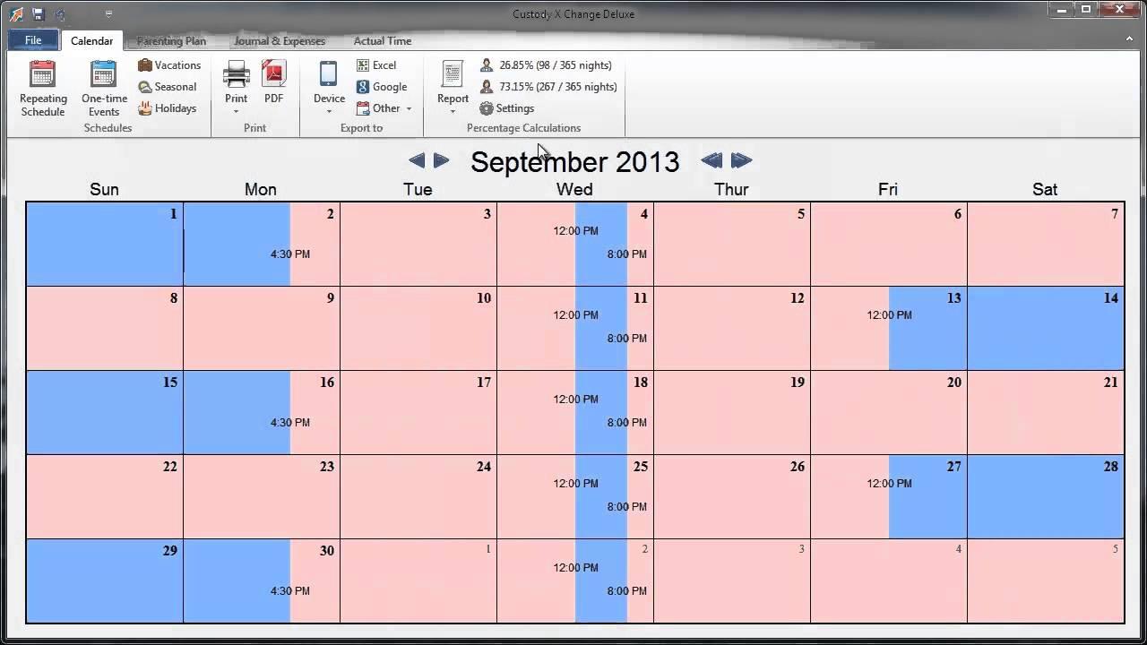 Custody X Change calendar screenshot
