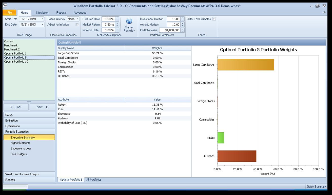 Windham Portfolio Advisor optimal portfolio screenshot