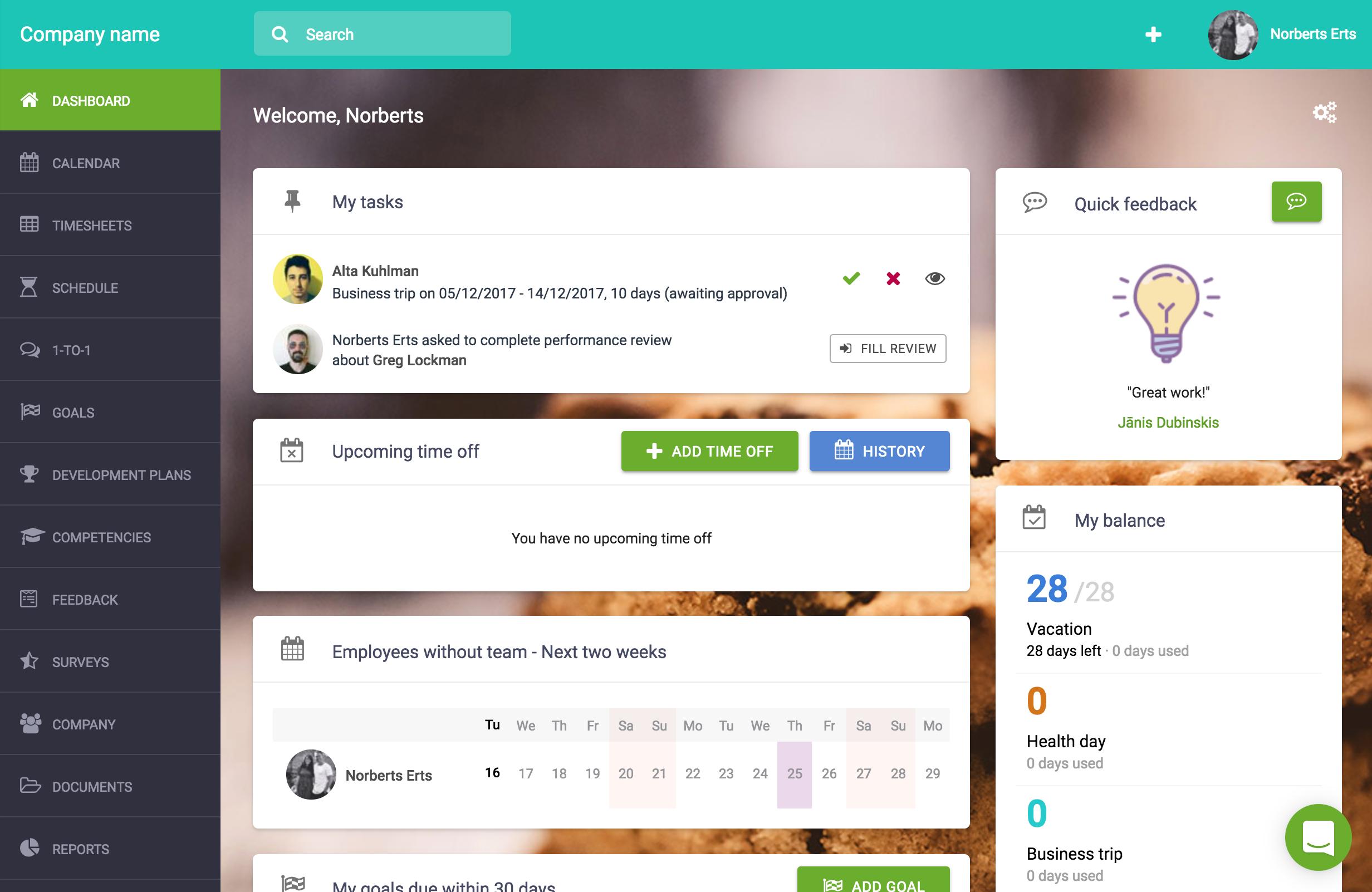 Sage HR Software - Dashboard