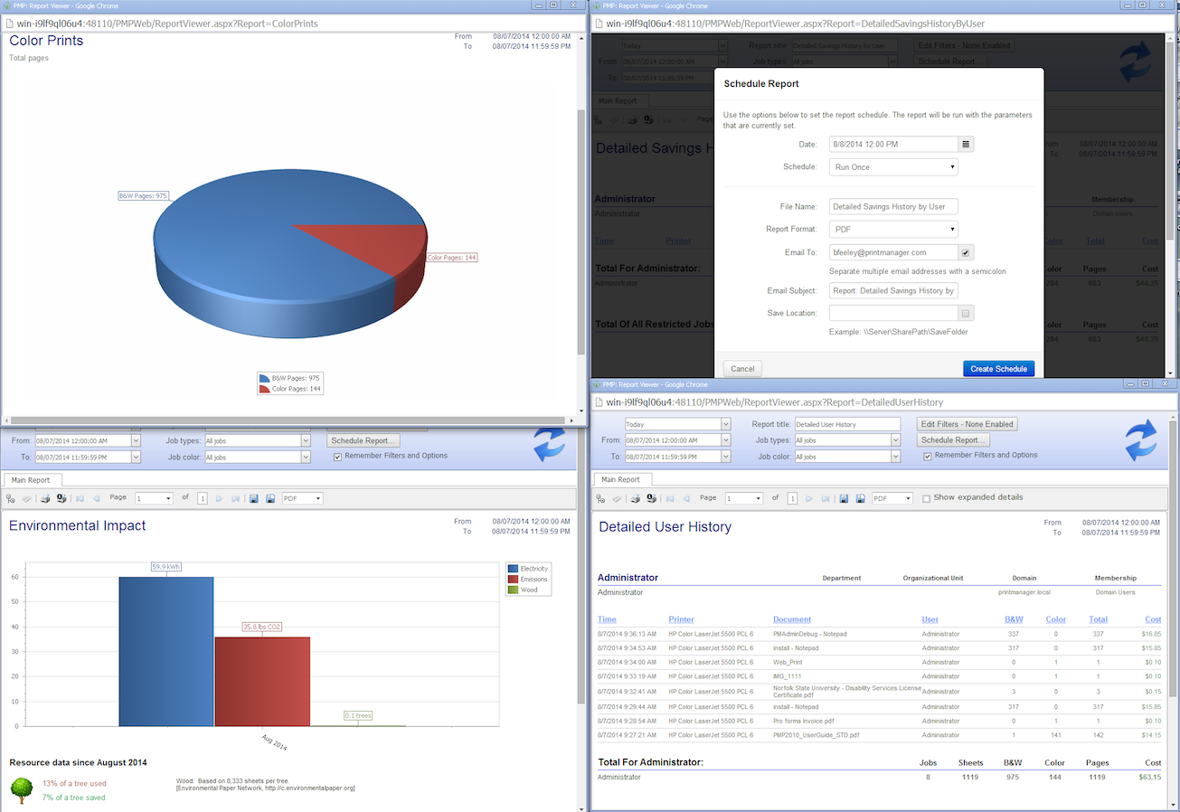 Print Manager Plus Software - Print Manager Plus visual reporting
