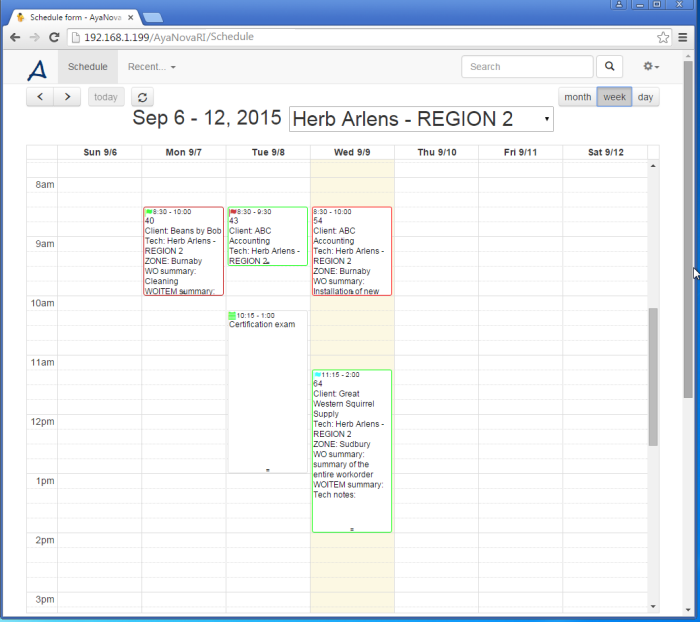 AyaNova Software - Work order scheduling %>
