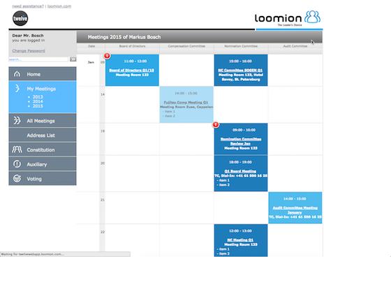 Twelve Directors' Portal Software - Twelve Directors' Portal meetings dashboard