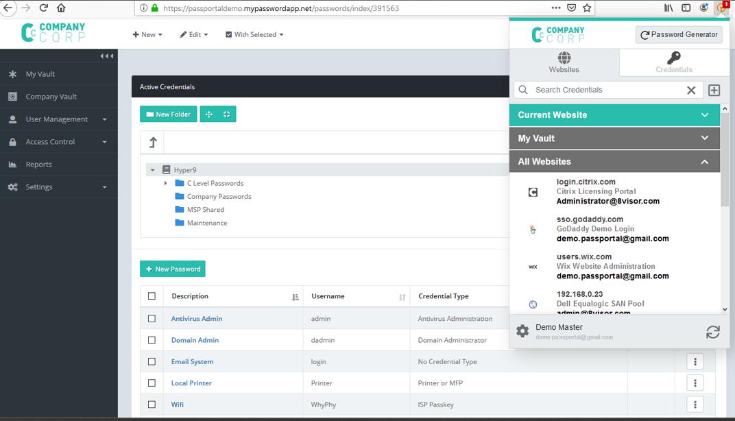 N-able Passportal credential generator screenshot