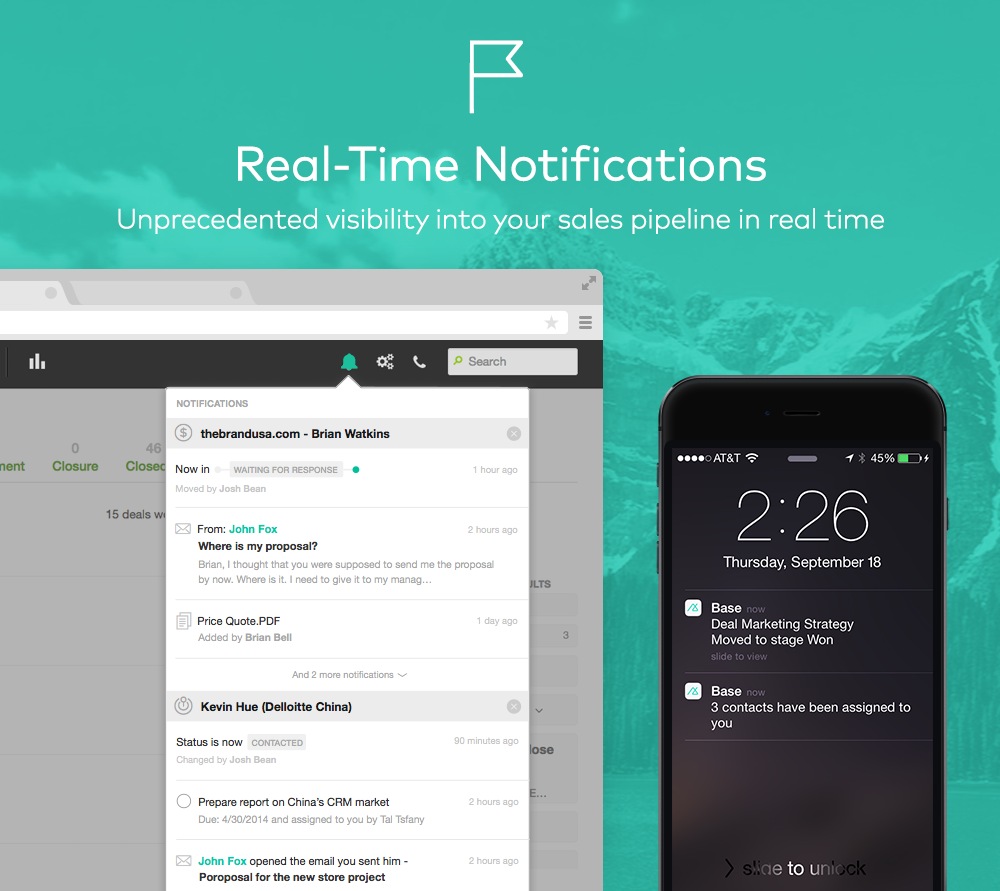 Real-time notifications provide insights into the sales pipeline in real time