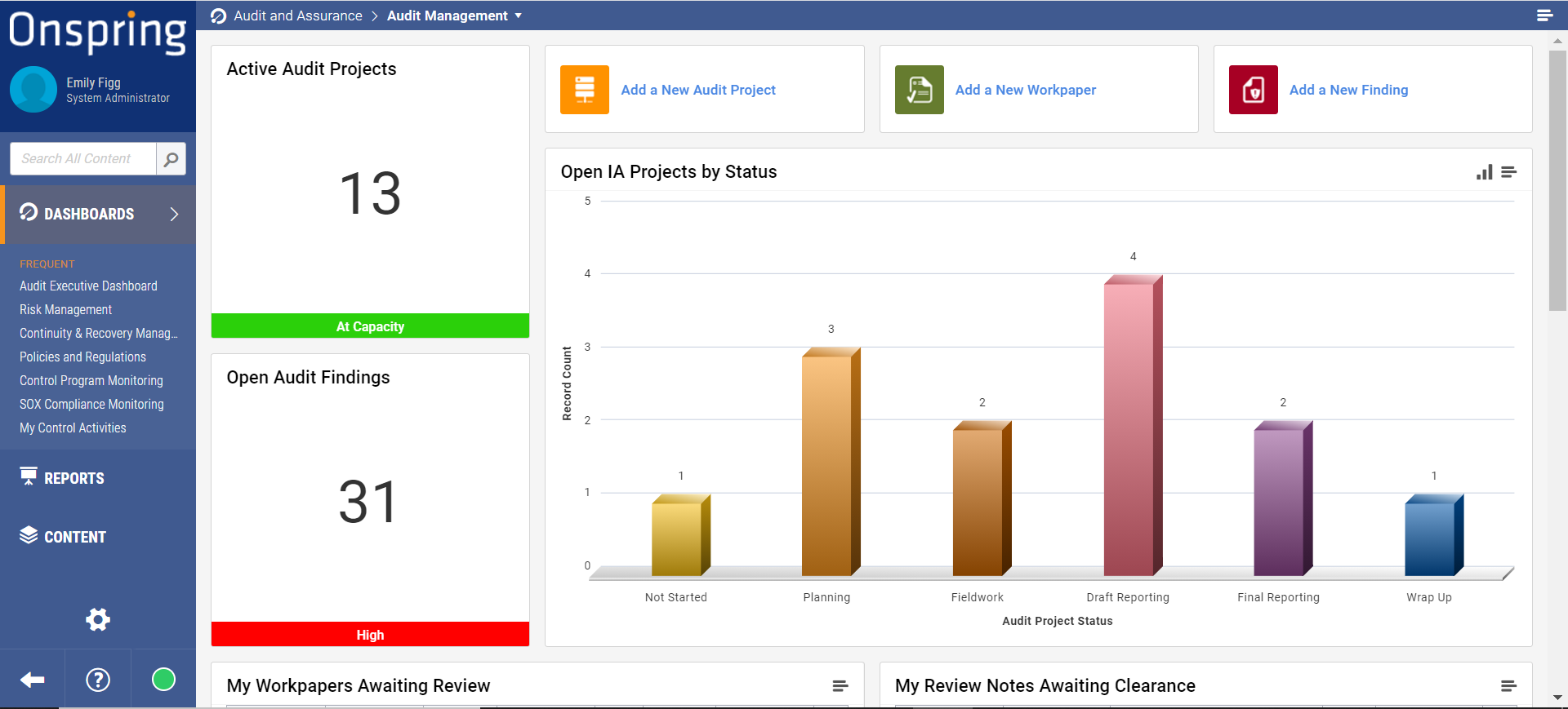 Audit Management Dashboard in Onspring Automation Software