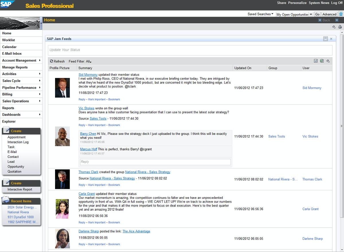 SAP SuccessFactors Work Zone activity feed