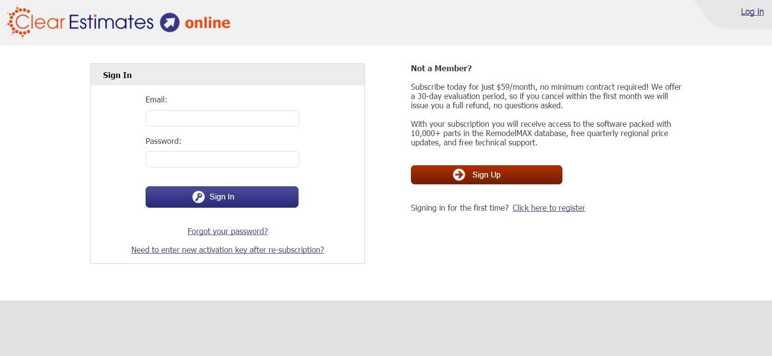 Clear Estimates screenshot: Clear Estimates login page