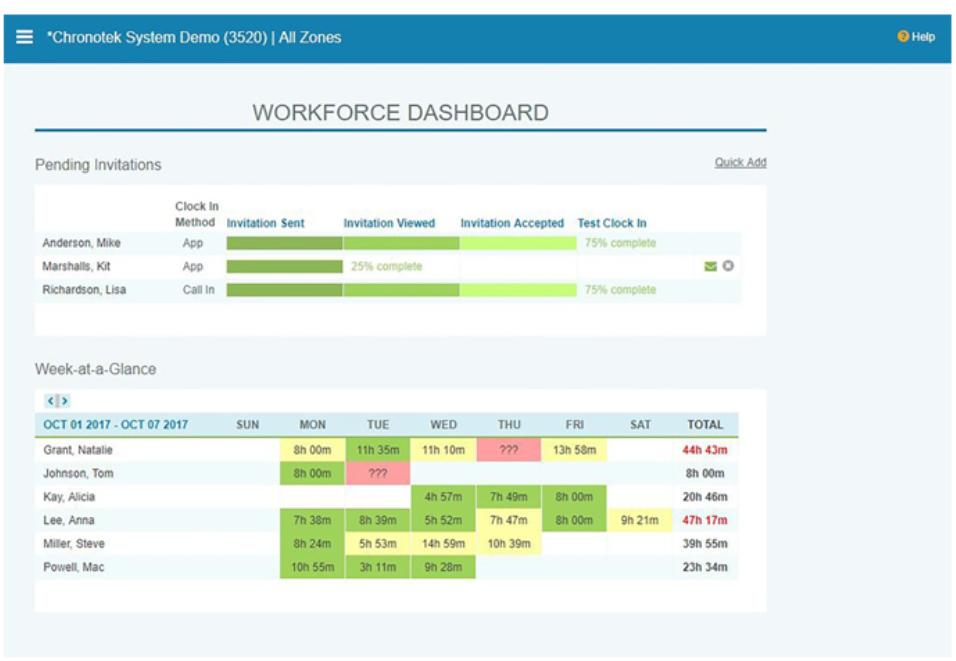 Chronotek Software - Chronotek workforce dashboard