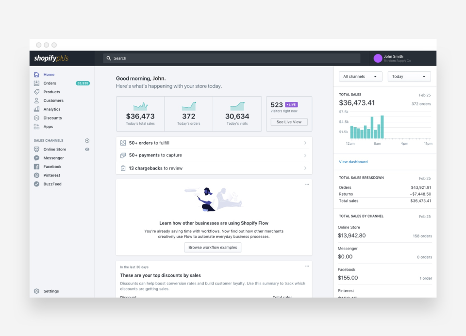 Get an at-a-glance overview of sales and orders via the admin page