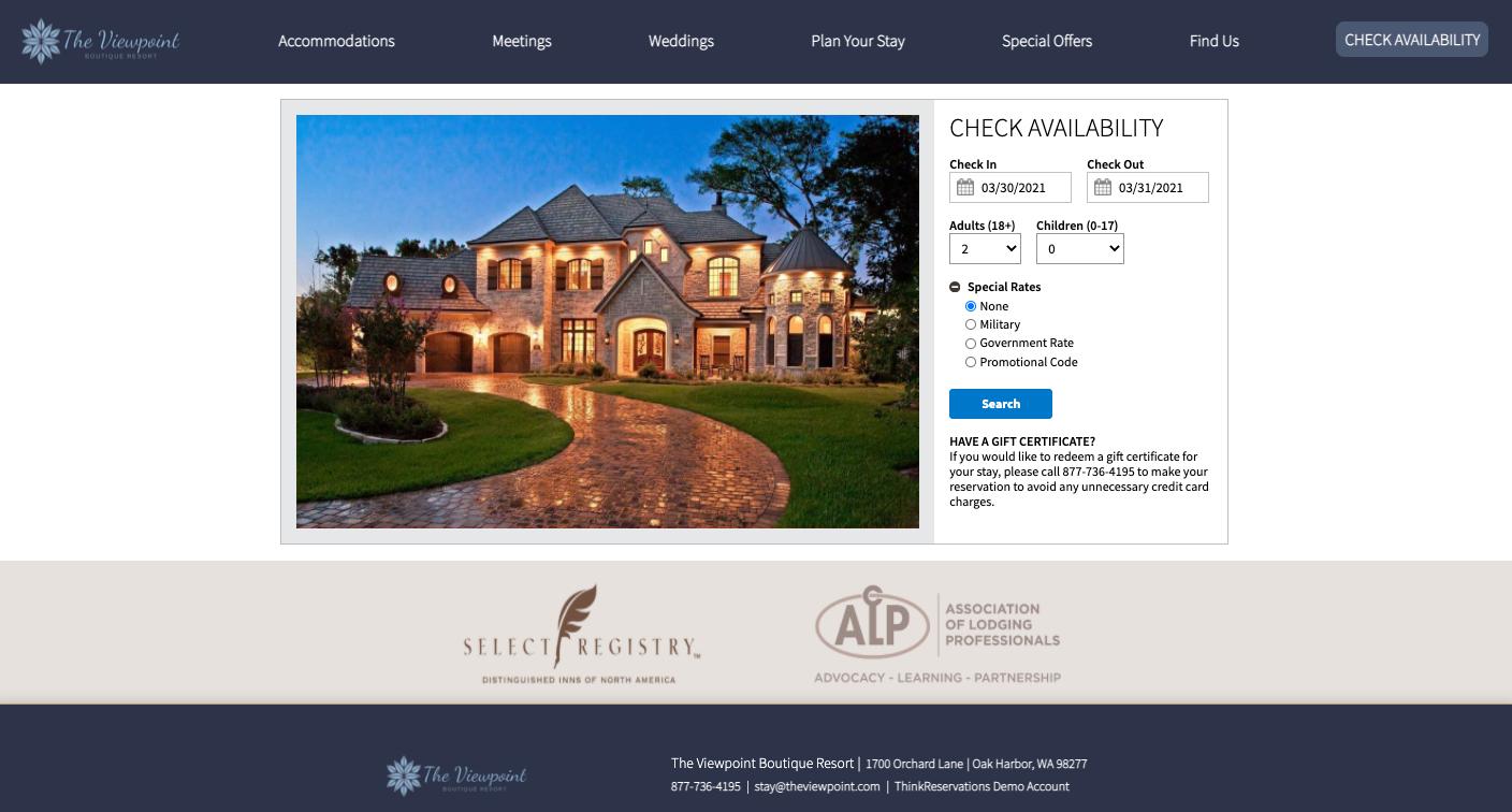 ThinkReservations screenshot: The mobile-responsive online booking engine is designed to increase conversions. Customized to match your brand and website, your guests will find making their reservation as stress-free as their stay.