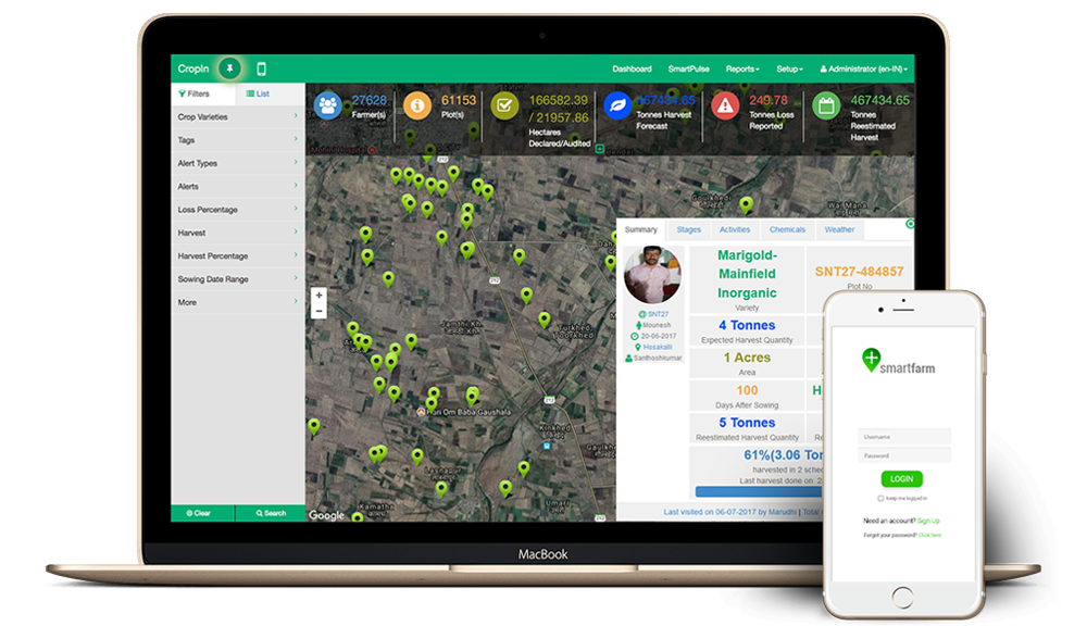 The SmartFarm dashboard can be used to track output, estimated harvest, and more
