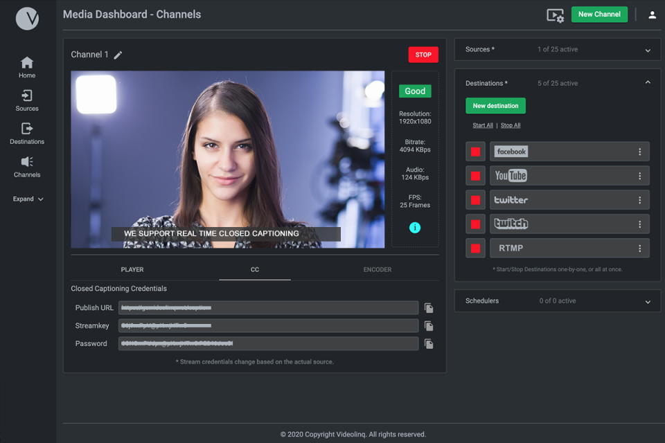 Configure and live stream anywhere from multiple live channels at the same time.