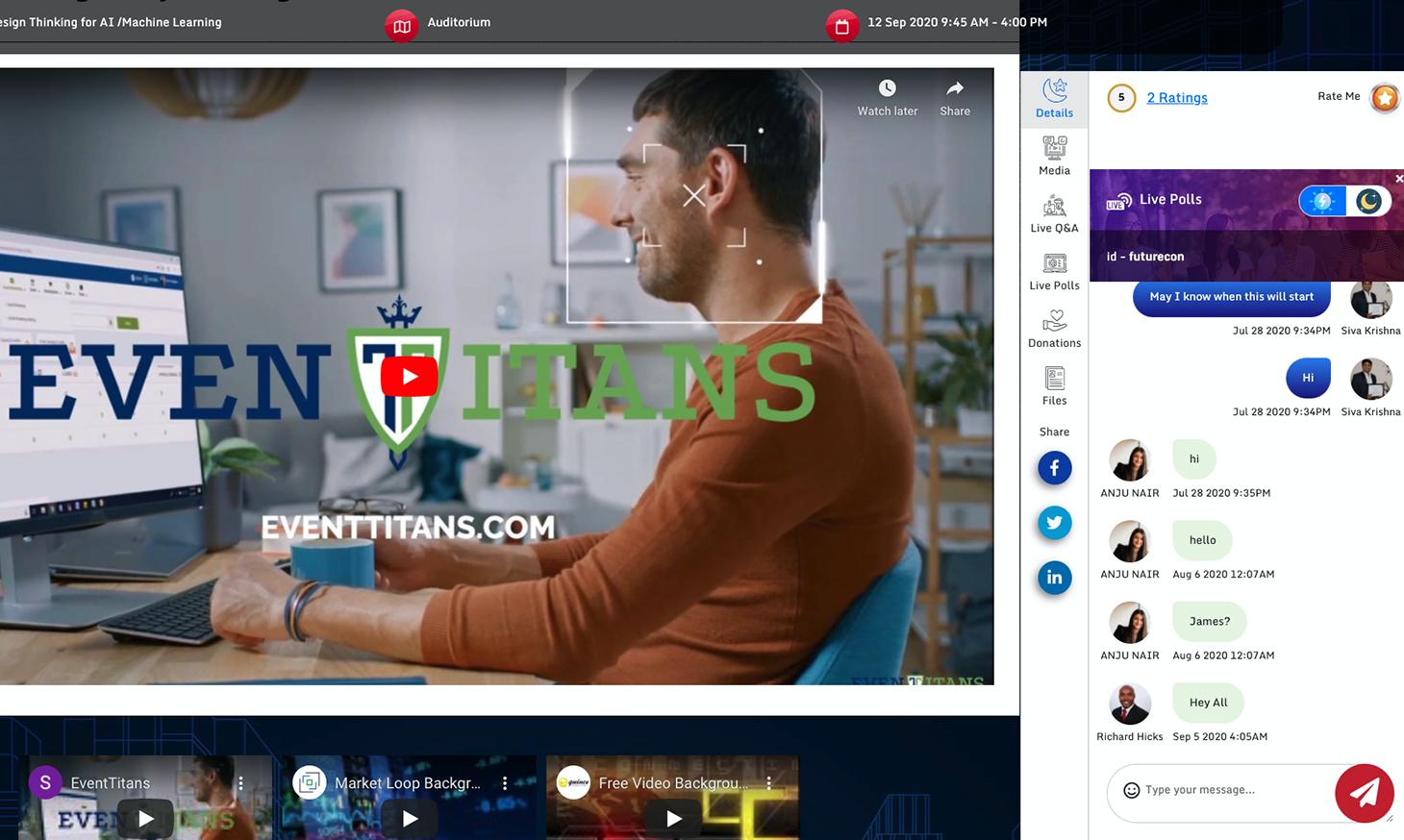 EventTitans Software - EventTitans virtual break room