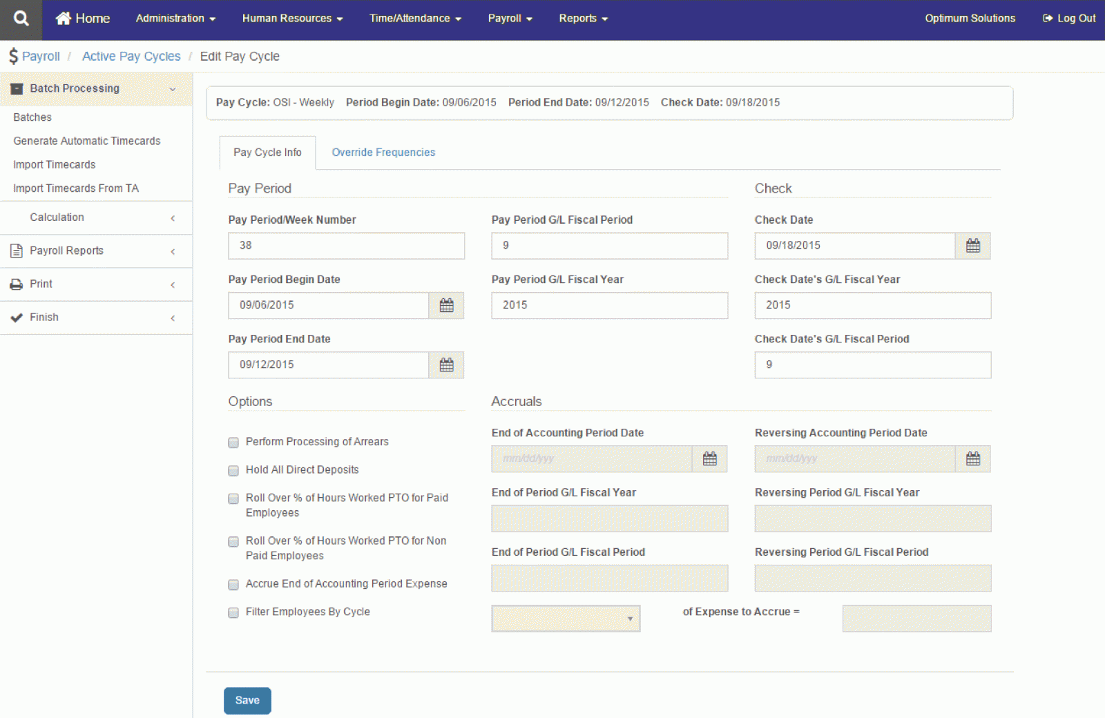 Optimum Payroll web interface showing pay cycle info and batch tools