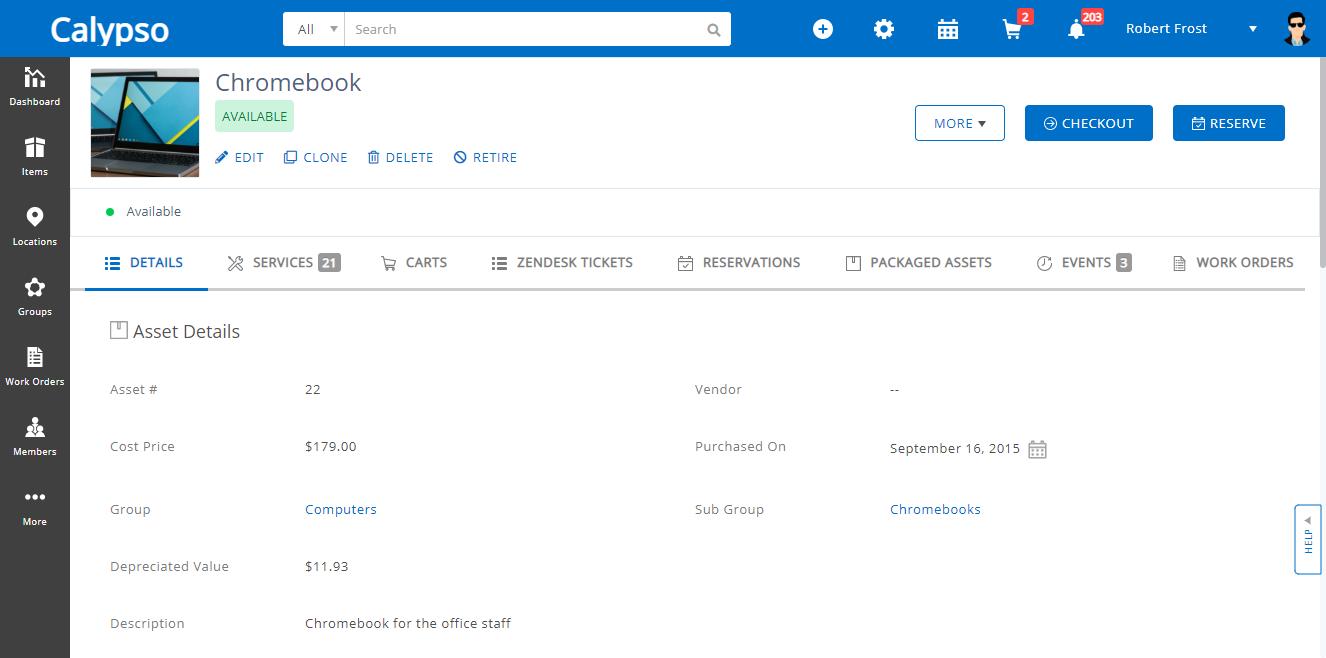 EZOfficeInventory Software - Asset Details
